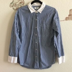 Old Navy Stripe Button Up Collar Long Sleeve Shirt